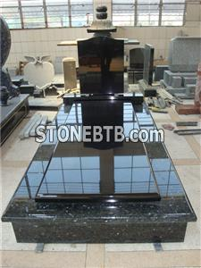 Blue pearl granite monument with kerbs and cover slab