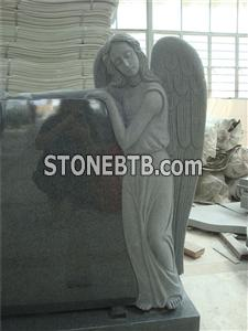 American style granite double angel monument