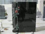 European style granite tombstone with pillar rose carving