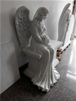 Beautiful white marble carved sitting angel monument