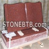 Book shape red granite headstone ,granite monument