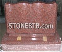 Red granite headstone with Book shape