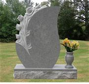Grey granite headstone with beautiful 3D flower