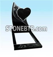 Black granite monument,granite tombstone with heart shaped