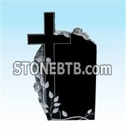 Russian black granite monument with flower carving