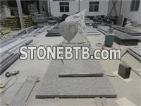 chinese g603 grey granite western style tombstone