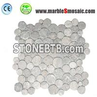 Tumbled Grey Marble Bubble Mosaic Tile