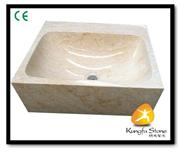 natural beige marble sink