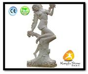 China White Marble Girl Stone Statues
