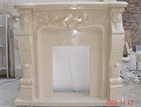 Flower Carved Fireplace