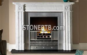Carrara white marble Fireplace