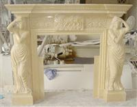 Figure Statue Stone Fireplace