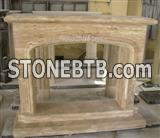Beige Travertine Fireplace