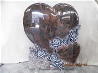 Heart Shaped Headstones With Carved Rose- HBMU089