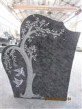 Olive green granite tree carving headstone