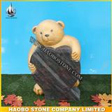 Lovely Child Headstone, Teady Bear Granite Headstone With Gold Coloring