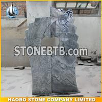 Sky Blue Granite Tombstone With Antique Finish Rose