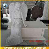 White Marble Sitting Angel Monument