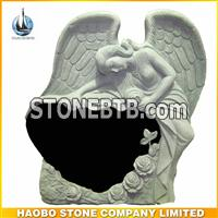 Black Granite Single Angel Headstone