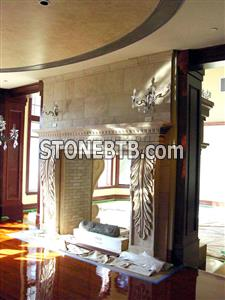 Leaves Hand Carved Fireplace with Travertine Beige