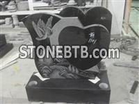 Black Heart Headstone With Black And White Etching