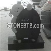 Black Granite Teddy Bear Headstone