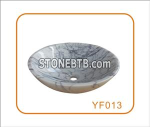 Bianco Carrara Stone Wash Basin Round Shape