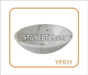Hezhou White A  Stone Wash Basin Round Shape