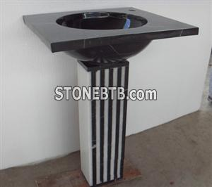 Bathroom Stone Pedestal Sink made of Natural Marble