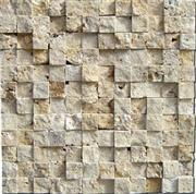 LINT1-3D beige split face travertine mosaic travertine mosaic tile backsplash