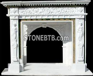 White Fire Place With Carving 1