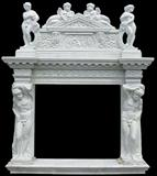 White Fire Place With Carving- 2