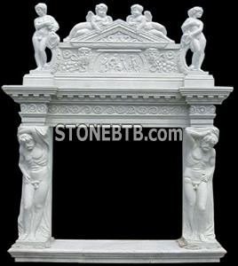 White Fire Place With Carving 2