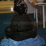 Absolute Black Granite Floating Spheres Fountain