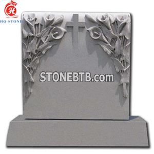 Gray Basalt Monuments with Carved Flower Cross
