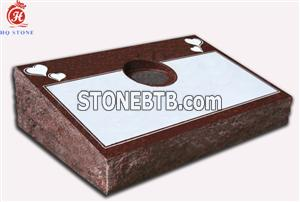 Red Granite Bevel Markers with Carved Heart Design