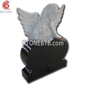 Shanxi Black Granite Memorials with Carved Angel