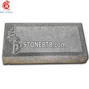 China Gray Granite Grave Markers with Carved Flower