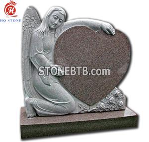 Red Granite Monuments with Heart and Carved Angel