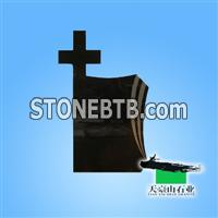 Cross Black Granite Tombstone