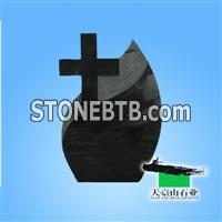 Cross Black Granite Gravestone
