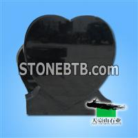Heart Black Granite Headstone