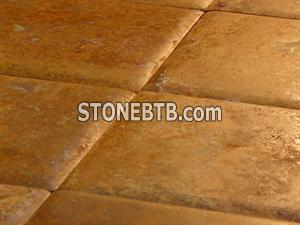 Cross-cut red travertine pillow edge