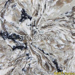 JW-6807 Black & White & Brown speckle quartz stone