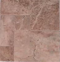 Red French Pattern Patinato(brushed & chiseled edge) Travertine Tiles