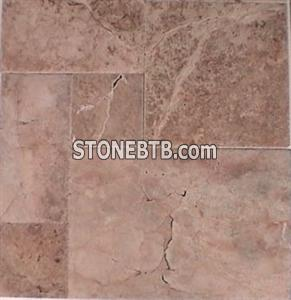 Red French Pattern Patinato brushed chiseled edge Travertine Tiles