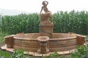 carved red marble fountain