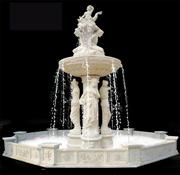 white marble water feature fountain