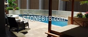Honed Filled Beige Travertine Pool Coping