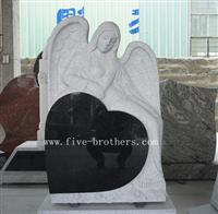 Heart Angel Carving Headstone